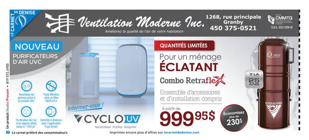 Ventilation Moderne Granby - Purificateurs d'air UVC - Aspirateurs Cyclovac Granby