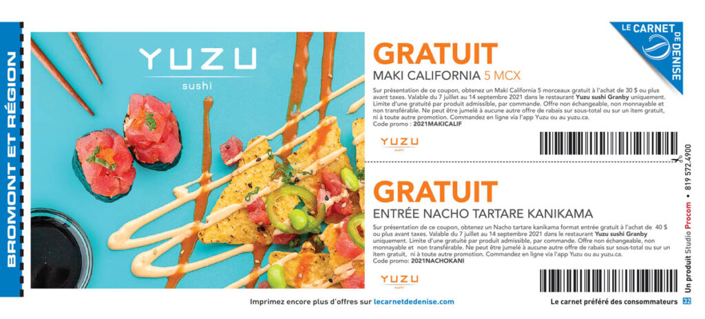 Yuzu Sushi Granby -  rabais Sushi Granby - Le Carnet de Denise